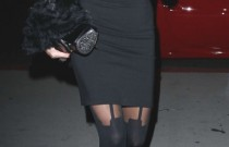 Celebrity Street Style- Paris Hilton- Suspender Tights