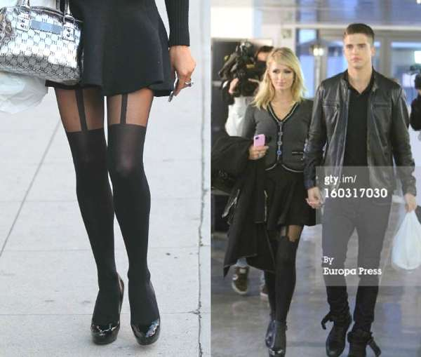 Celebrity Street Style- Paris Hilton- Suspender Tights