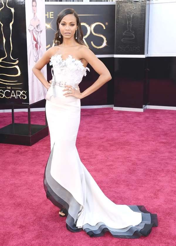 Zoe Saldana in an Alexis Mabille Couture dress, Roger Vivier shoes, Salvatore Ferragamo clutch and Neil Lane jewelry.