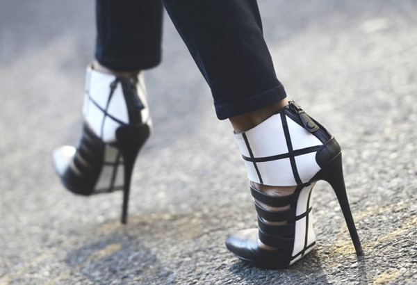black and white booties
