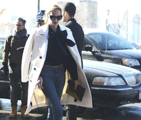 street style white coat