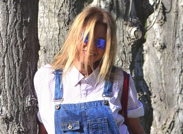 Denim Dungaree and Louboutins Okley mirror sunglasses