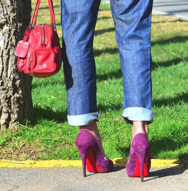 Denim Dungaree and Louboutins Prada red