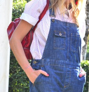 Denim Dungaree and Louboutins-Red Prada bag