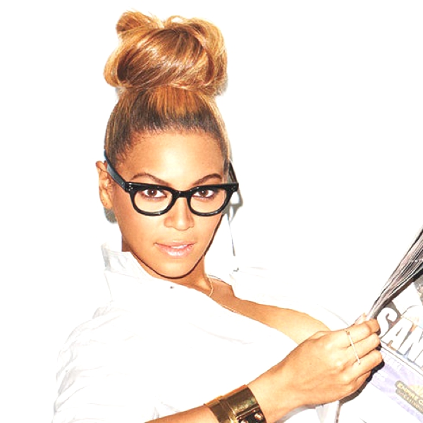 Pop Queen Beyonce Geek glasses- top bun