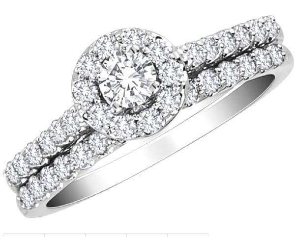 Diamond Engagement Ring and Wedding Band Set 1.0 Carat (ctw) in 10K White Gold