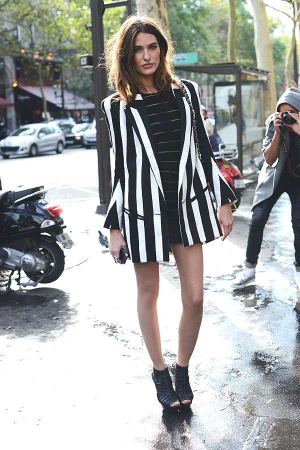 black and white stripes- tailored jacket