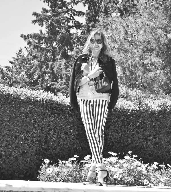 BW-Stripped Pants- Leather jacket-0000 copy