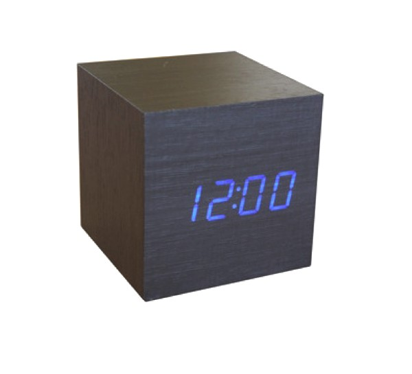 Cube Click Clock Black Blue