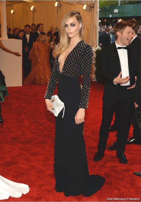 Delevingne Met Ball wearing Burberry' dress