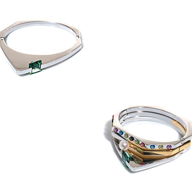 Price €830 Delfina Delettrez silver braceletin her signature angular form