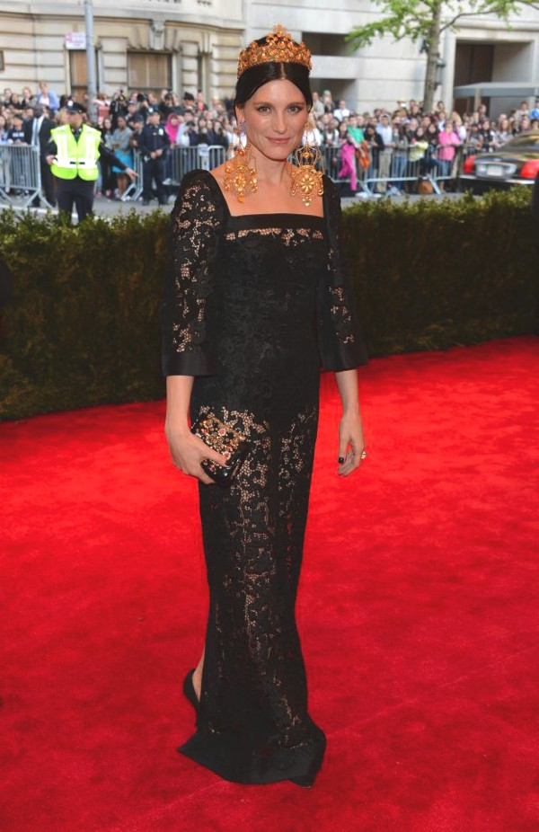 Dolce and Gabbana- Designer Tabitha Simmons wore an Alta Moda embroidered Mikado gown