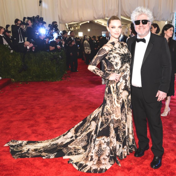 Director Pedro Almodovar and actress Amanda Seyfried in Givenchy by Riccardo Tisci at the MET Gala.