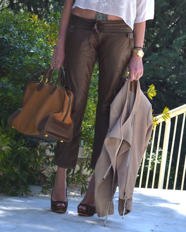 Ermano Scervino brown leather pants