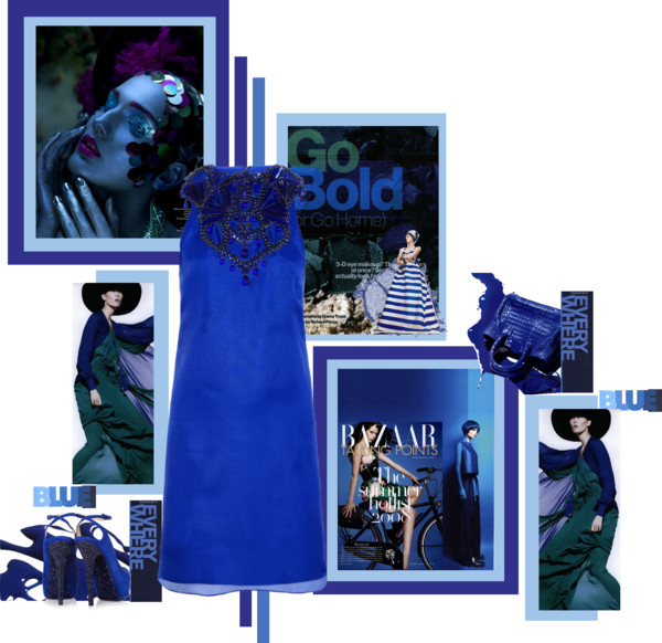 Icelle Go Blue fashion collage