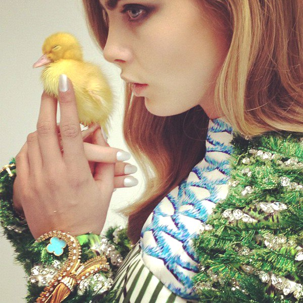 It's a Happy Easter when you're a chick and you're being given an Easter kiss by Cara Delevingne wearing AW12 Anchorino Dress!