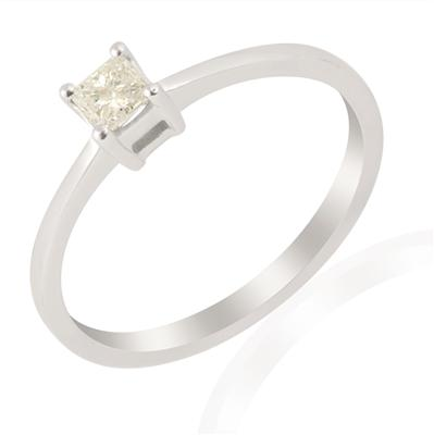 Certified 0.24ct White Diamond 9k White Gold Ring