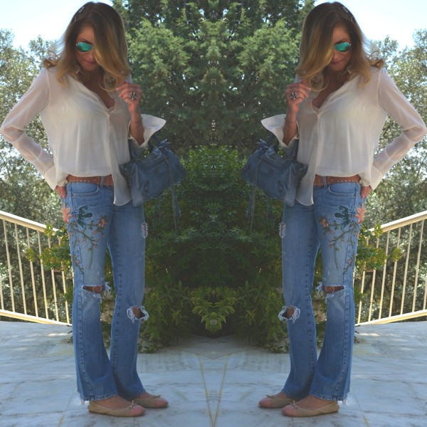 Street Style Floral jeans