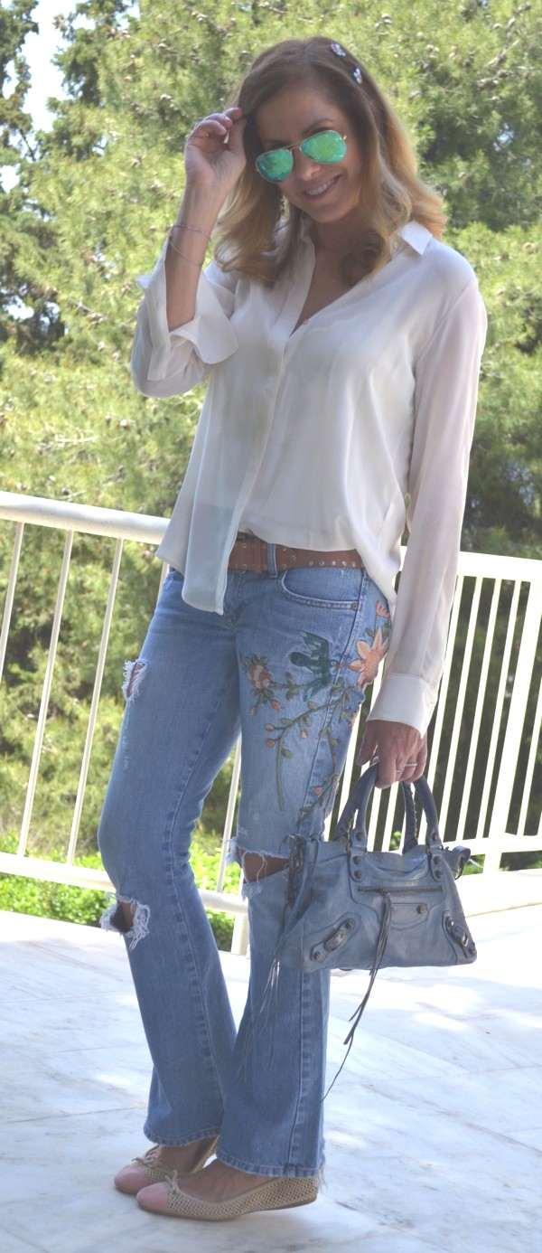 balenciaga bag floral jeans