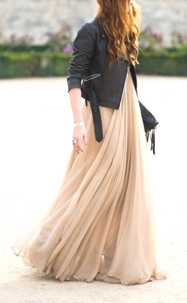 leather jacket maxi dress