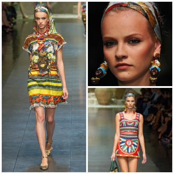 Head scarfs at the Dolce and  Gabbana SS 2013 Fashion Show