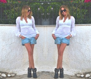 Isabel Marant boots, denim shorts