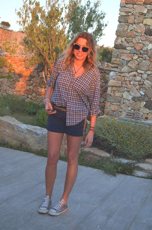 Trendsurvivor- Checked Shirt and Shorts-Metal Leather All Stars- Dolce Gabbana Sunglasses