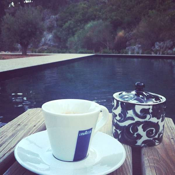 black coffee at a black pool