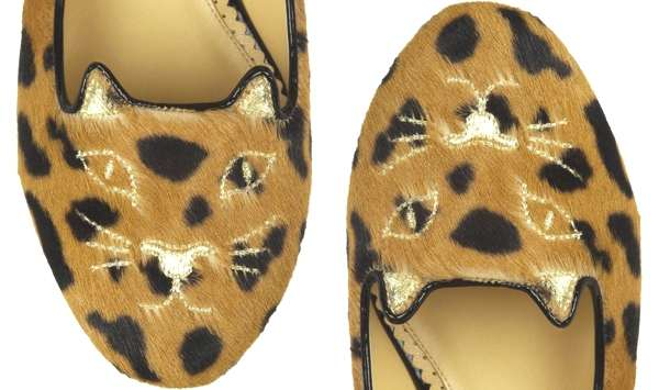 Charlotte Olympia kitty leopard slippers