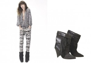 Isabel Marant X H&M black and white look with fringed boots