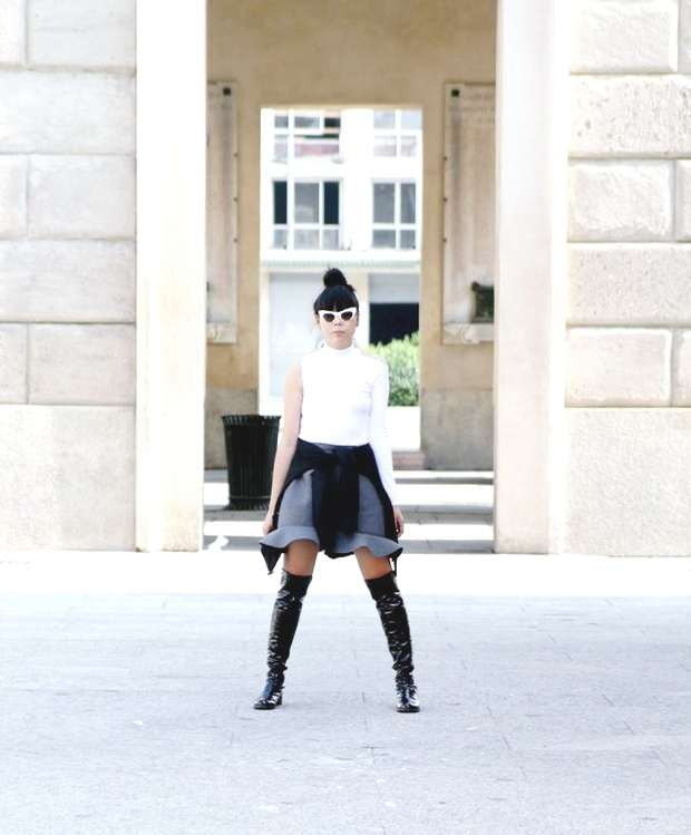 Style Bubble wearing ruffle skirt with over the knee boots