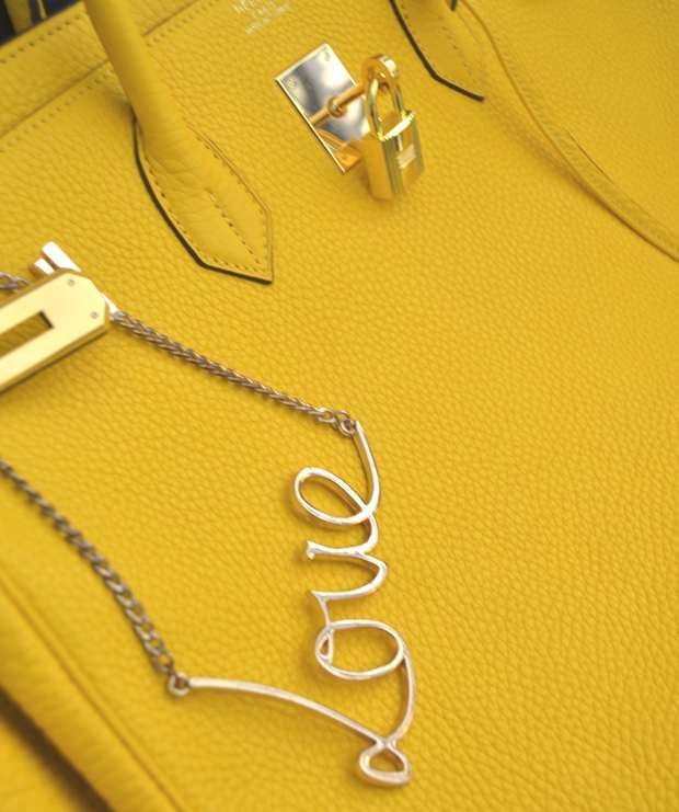 Trendsurvivor- Love necklace Pull and Bear Hermes yellow bag