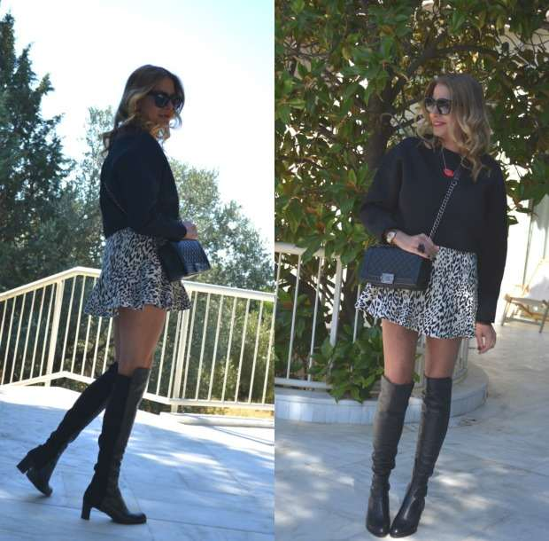 Trendsurvivor Over The Knee Boots and Ruffle skirt