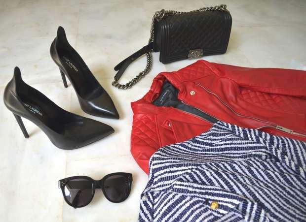 Trendsurvivor Vintage Dress Chanel Red Biker Leather Jacket