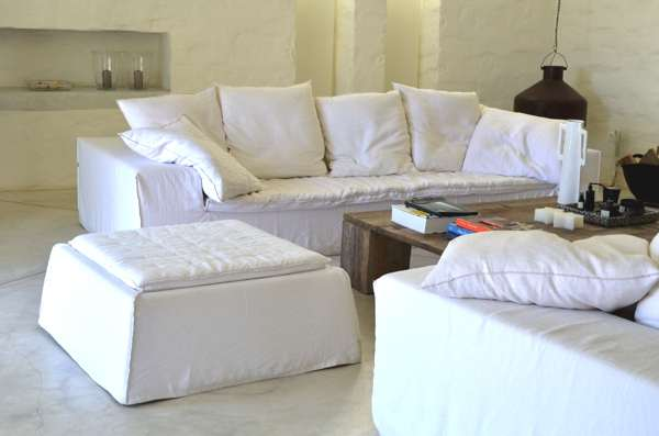 white couch and shabby chic table