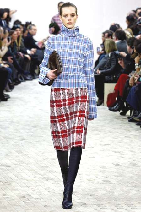 Celine's woven laundry-bag squares are one of the season's most definitive prints
