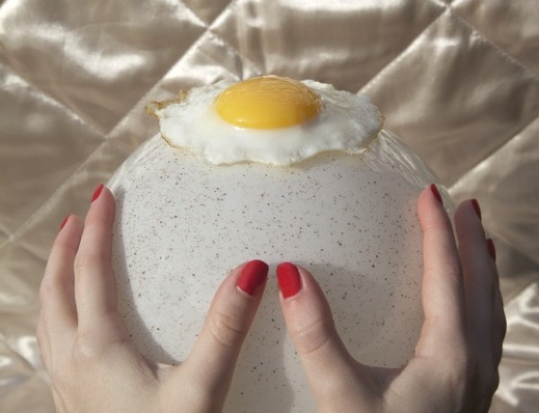 Chloe Newman red nails and eggs