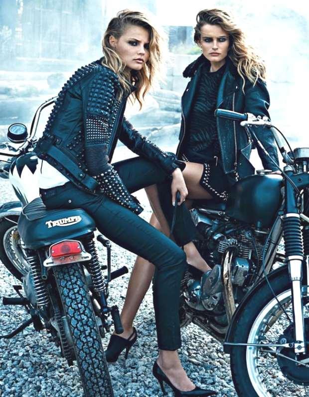 Edita-Vilkeviciute-Magdalena-Frackowiak-W-Magazine-Black Leather Biker Jacket