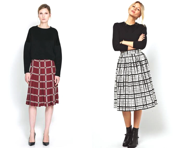Geometric Midi Full Skirts