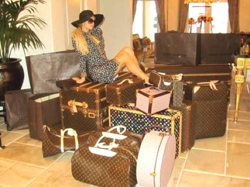 Paris Hilton Vintage Louis Vuitton suitcases