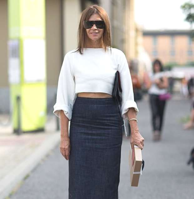Trendsurvivor Denim Pencil skirt Carine Roitfeld