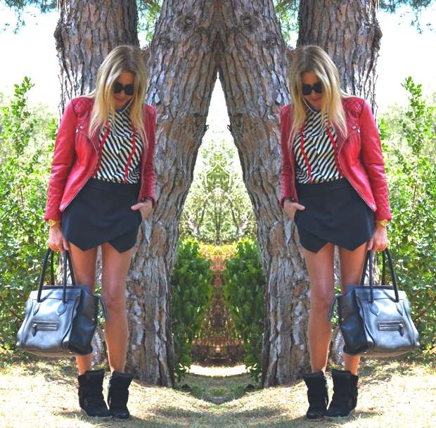 Zara Mini Skort Red leather biker jacket