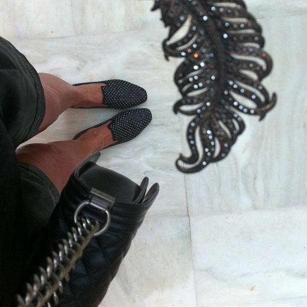 black Jimmy Choo Slippers