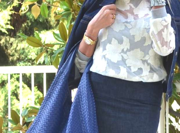 denim and lace bottega bag