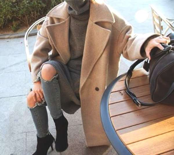 Camel coat distressed jeans