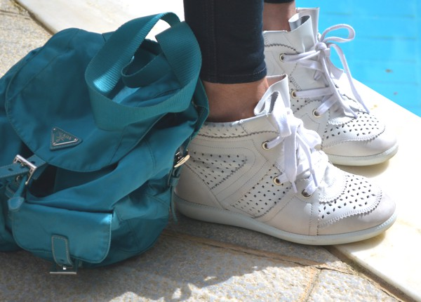 Isabel Marant sneakers, Prada blue bag