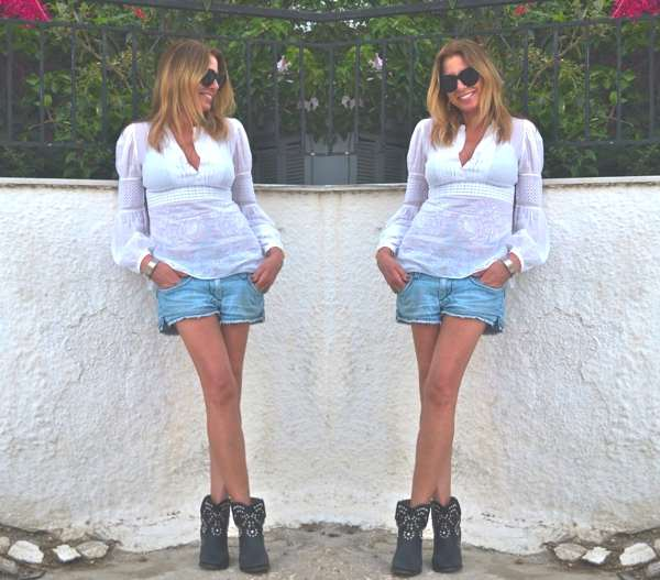 Isabel Marant boots and denim shorts