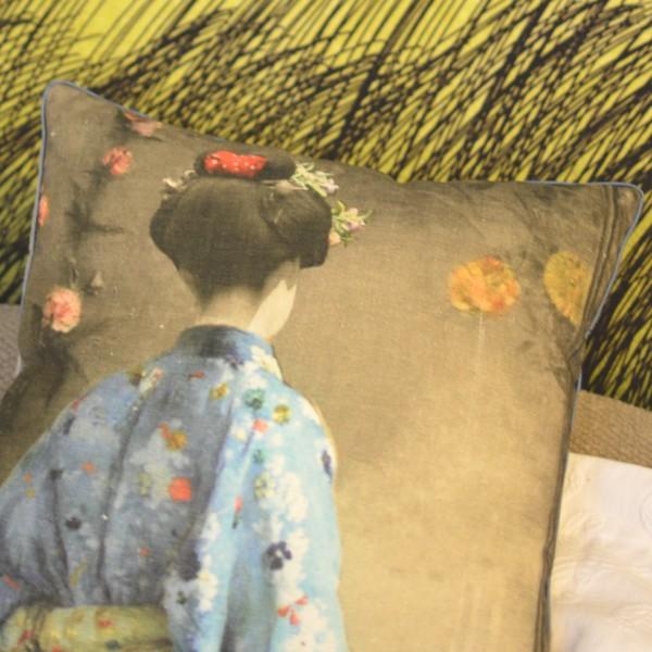 Home Decor DIY- A Marimekko Textile Painting , Zara Japanese girl pillow