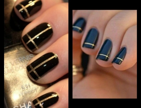 Nails Black and gold lines