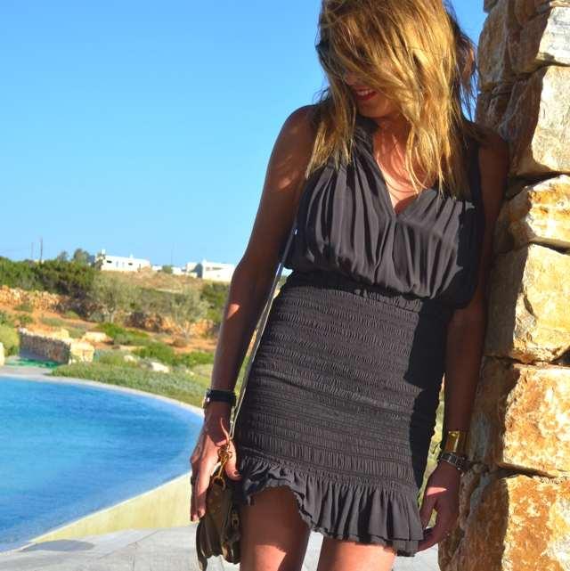 Isabel Marant grey silk dress, Isabel Marant studded sandals